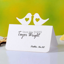 50pcs Love Birds Laser Cut Wedding Party Table Wine Food Guest Name Place Cards Favor Decoration