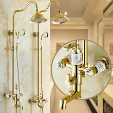 Solid Brass Body Ceramic And Crystal Gold Shower Set European Shower Faucet 8 Inch Shower Head Polished Adjust Lifting Arm(China)