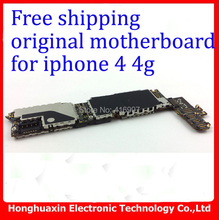 5pcs/lot free shipping wholesale price system board original unlocked mainboard for iphone 4 4g 16GB Motherboard