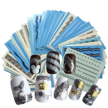 50pcs Nail Art Sticker Black/White Sexy Lace DIY  Nail Art Decals Water Transfer Wraps GlitterStyling Tools TRY-NC180