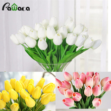 10pcs beauty real touch flowers latex Tulips flower Artificial Bouquet Fake flower bridal bouquet decorate flowers for wedding(China)
