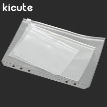 Kicute Hot A5 A6 A7 PVC Zipper Pouch Standard 6 Holes Transparent Bags Card Bills Bags Loose Leaf Plastic Card Holder Pockets