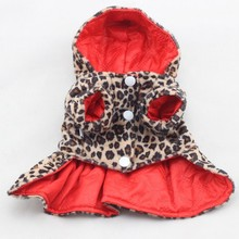 Pets Dogs Leopard Pattern Tutu Coat Dress Puppy Hoodies Both Sides Wear Clothing for Dogs(China)