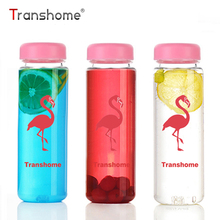 Transhome Flamingo Water Bottle 500ml Pink Plastic Flamingo Portable Clear Lemon Juice Infuser Bottles For Sports Outdoor Bottle(China)