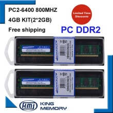 free shipping DDR2 4GB kit(2*DDR2 2GB) 800MHZ PC6400 LONGDIMM 8bits work for all intel and A-M-D motherboard