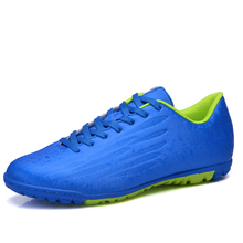 2016 Soccer Sport Football Training Shoes For Men Kids Boys Leather Football Turf Trainers Blue/Orange Soccer Tf Boots Sneakers