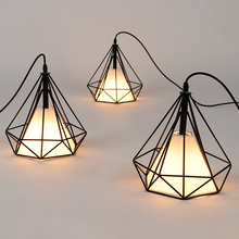 Free shipping American vintage cage pendant lights EU warehouse Black diamond  Pendant lamp Diamond Creative Restaurant Lights