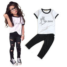 Trend Europe style Special design girls clothing sets fashion letters white T-shirt + hole trousers 2PCS children clothing girls