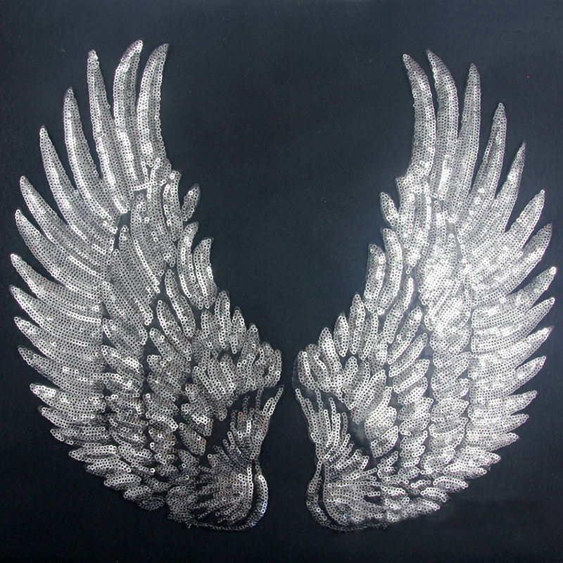 1 Pair Silver Gold Angel Wings Patch DIY Sequins Clothes Patches Iron-on Embroidered Patch Motif Applique Clothing Decoration(China (Mainland))
