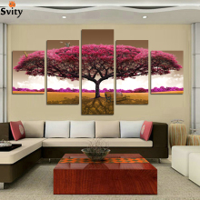 HOT 5 panel Printed tree art scenery landscape modular picture large canvas painting for bedroom living room home wall art decor(China)