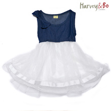 Harvey&Bo summer girls princess dress jeans baby toddler kids denim vest dresses children clothing(China)