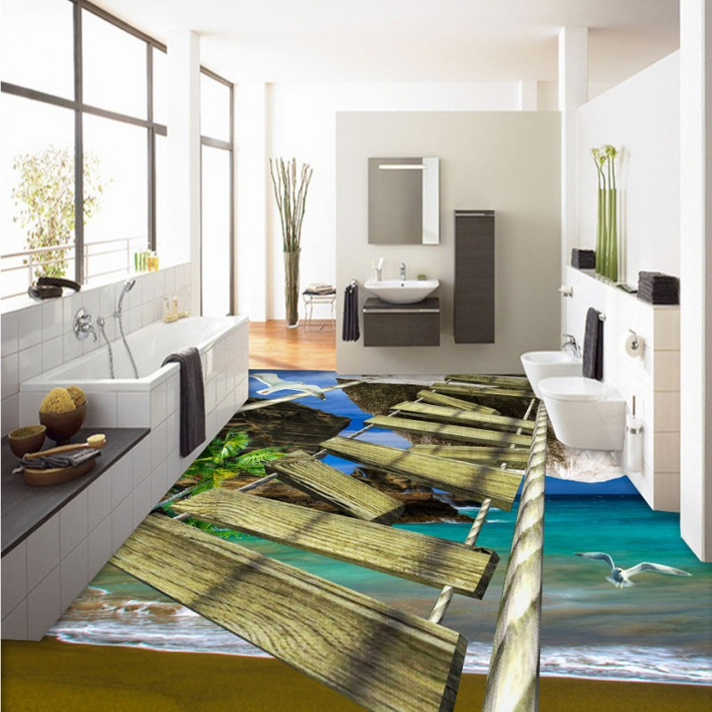 Free Shipping 3D wooden bridge seaside landscape floor thickened self-adhesive living room lobby kitchen study flooring mural<br><br>Aliexpress