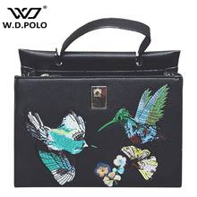 WDPOLO  High chic Embroidery Women hand bag pu leather bee and butterfly image embroidery lady shoulder bags valentine bagM2251