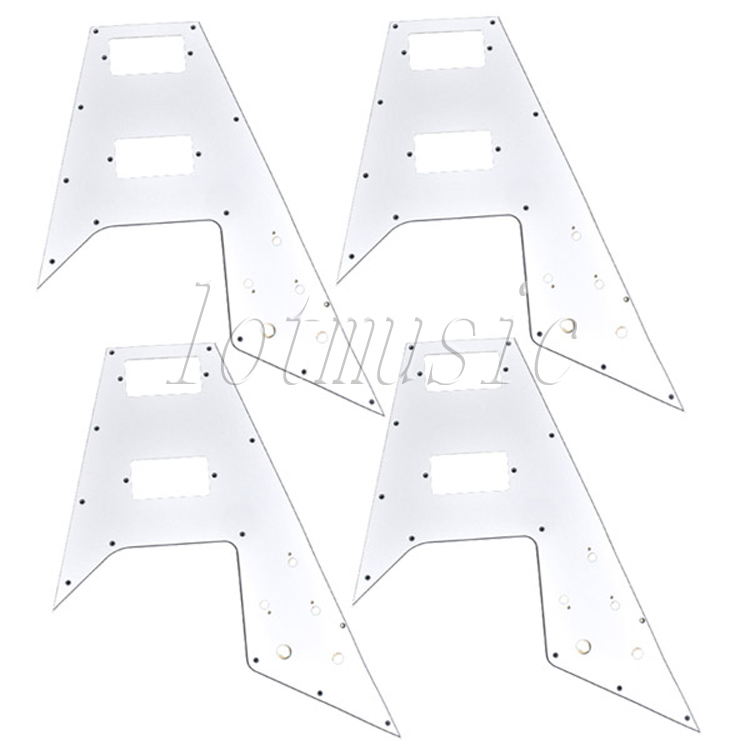 4Pcs White Pickguard 3ply PVC Guitar Scratch Plate New for Electric Guitar Repacement<br>