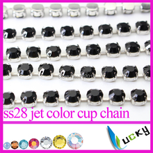 Free shipping! 5 yards 28ss 6MM Jet black color crystal cup chain rhinestone trim with 888 quality strass Beads for decorations