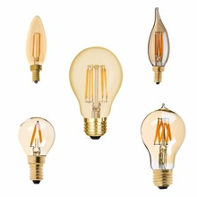 E12 E14 E26 E27 1W 4W 8W,LED Filament Light Bulb , A19 G40 C32T C35 Edison Led Bulb,Golden Tint,Super Warm White 2200K,Dimmable
