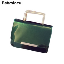 Petminru ladies Handbag Patent Leather Shoulder Bags Bright Messenger Flap Jelly Metal Bag Chain Bag Red Green Black SilverGold