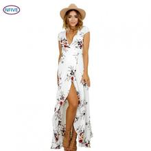 NFIVE Brand 2017 New Summer Women Chiffon Explosion V Collar Slit Print Long Dress Fashion Sexy Elegant Beach Holiday Dresses