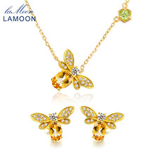 LAMOON 925 Sterling Silver Bee 5x7mm 1ct 100% Natural Gemstone Citrine Fine Jewelry Set Stud Earrings Necklace