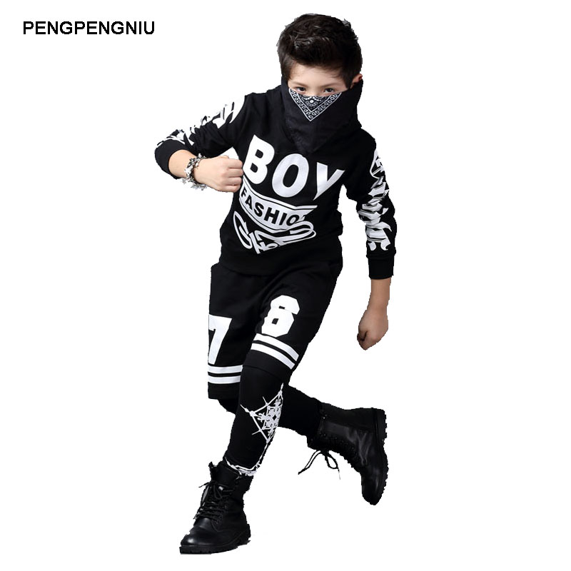 PENGPENGNIU Sport Suit Boy Kids Street Dance Clothes Sets Black Hoody Pants Two Piece Clothing Set for Children 2017 Autumn New<br>