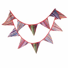 New Arrival 12 Flags 3.2M natinal print Fabric Banners indian camping Bunting Decor Birthday Party Decoration Room Garland(China)