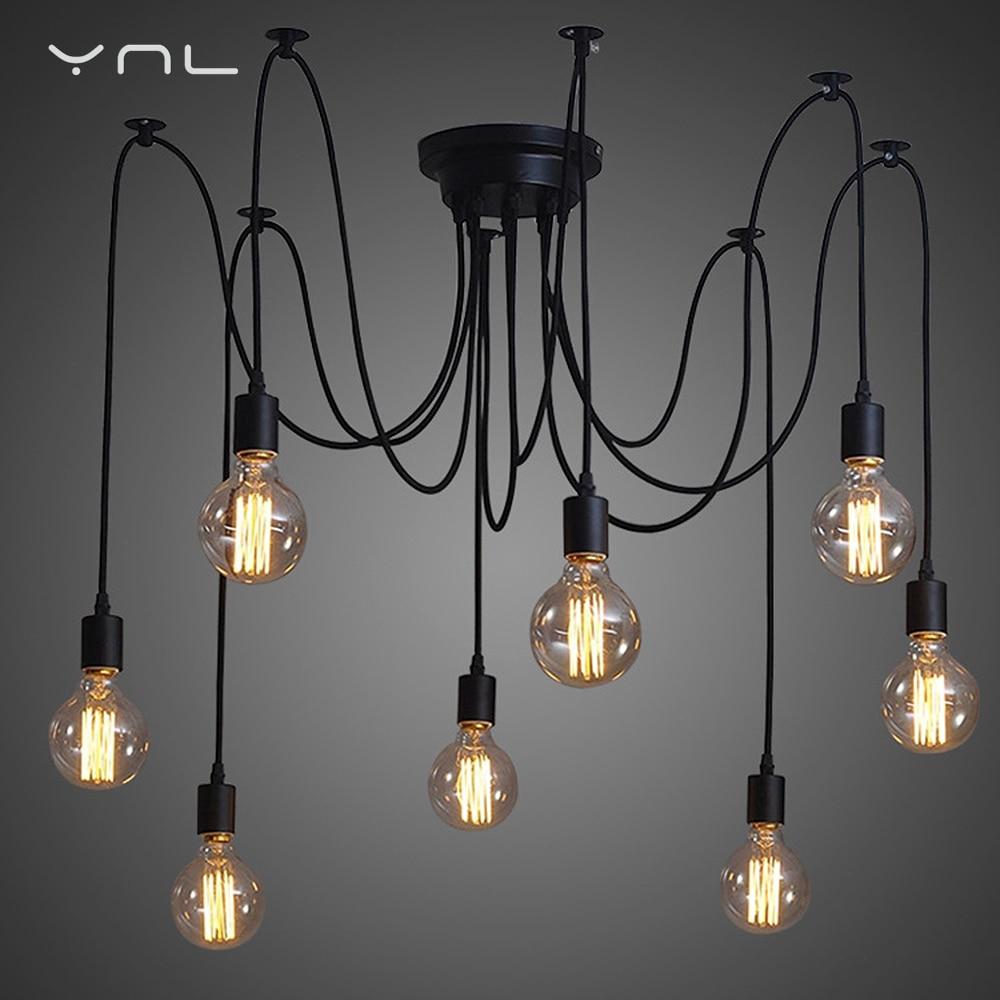 Modern Retro Edison Bulb E27 Vintage lamps Antique DIY Art Spider Pendant Lights 2 meters Line Home Lighting suspension<br>