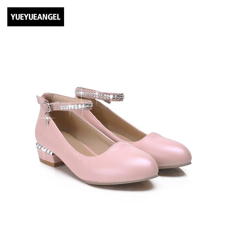 Sweet Lovey Buckle Strap Pointed Toe Dress Shoses For Women Christmas Prom Sequins Block Chunky Heel Mary Jane Zapatillas Mujer <br>