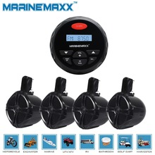 "4"" Waterproof Marine Gauge Radio FM AM Audio Bluetooth Stereo+2 Pairs 6.5"" Marine WakeBoard Tower Speakers Totaling 1000 Watts"