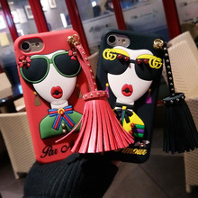 Korea Fashion Super Hot 3D Soft TPU Sunglasses Modern Girl Goddess Rivet Tassels Phone Case Cover For Iphone 7 6 6S 8 Plus(China)