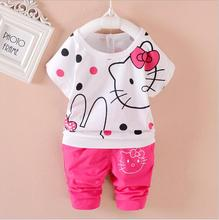 2017 New 1-4Year Baby Girls Hello Kitty T-shirt+Pants Cotton Clothing 2pcs Sets Girls Summer Suit free shipping