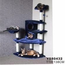 Fast Hot!!! H138cm Luxury Cat Toys Cat Climbing Tree Fun Scratching Solid Wood Pet Kitten Climb Frame Hanging Ball