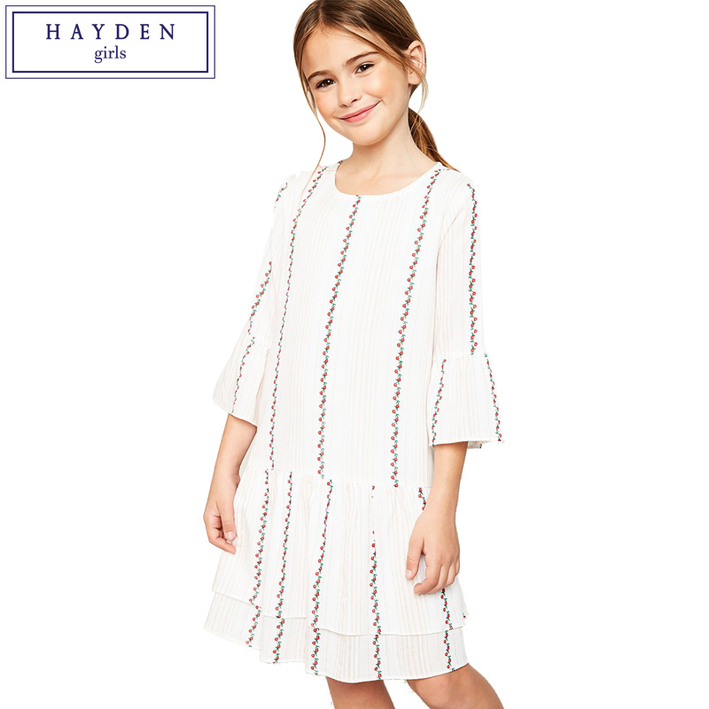 HAYDEN Girls Floral Print Dress Girl Kids Brand Designer Clothes for Teenage Girls Spring Summer 2018 New Arrival Tunics<br>