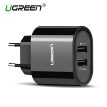 Ugreen 17W Mobile Phone Charger Universal Dual USB Wall Charger Smart Phone Charger for iPhone 7 6 Samsung Huawei Tablet Charger(China)