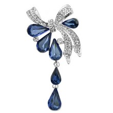 New Arrival 2016 ladies brooches Crystal Waterdrop Bow-knot Brooches for women wedding and party jewelry hijab pins