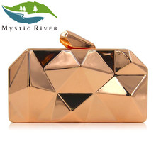 Mystic River Women Clutch Bag Ladies Metal Box Clutches Top Quality Hexagon Evening Bags Mini Party Purses(China)