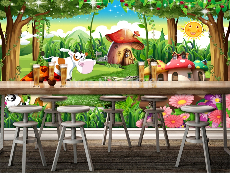 HTB1qN8cnMoQMeJjy0Fpq6ATxpXah - Custom 3D Photo Wallpaper Children Room Bedroom Cartoon Forest House Background Decoration Painting Wall Mural Papel De Parede