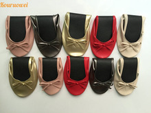 Free Shipping! 2015 party queen guest favor cheap foldable ballerina shoes with bag(China)