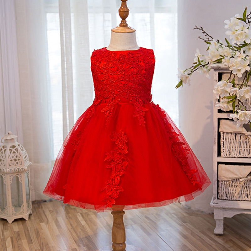 2017New Years Princess Dress Girls Costumes Red Kids Party Dresses High-quality Goods Children Dress High-grade Girl Outfit 2-8y<br>