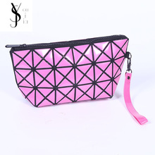Lattice Can Be Folded Makeup Bags With Multicolor Pattern Cute Cosmetics Pouchs For Travel Ladies Pouch Women Cosmetic Bag(China)