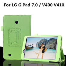 "For LG G Pad Gpad 7.0 V400 V410 7"" Tablet Case Fashion Bracket Flip Leather Shell Cover(China)"