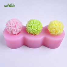 Nicole Silicone Mold 3-Cavity Rose Ball Shape for Soap Candle Chocolate Making Mould DIY Handmade Craft Decorating Tool(China)