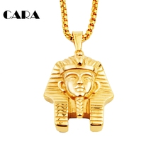 Men's Egyptian Pharaoh Pendant Necklace choker HipHop Necklace 316 Stainless Steel Ankn Ancient Egypt King Necklace CAGF0040