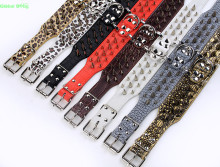(20 Pieces/lot)  Brand High Quality 2inch Width Leather Studded Sharp Spikes Dog Pet Collar Pitbull