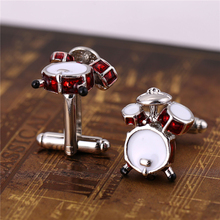 J Store Fancy 3D Red White Drum Cufflinks For Men Shirts Quality Musical Instrument Metal Cuff Link Mens Gift Wholesale Retail