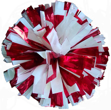 Metal red mix white cheerleading pom poms (2pieces/lot) Cheerleader pompon The Handle can choose The Color can free combination(China)