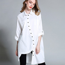 Women Simple Plain Plus Size Clothing Autumn Button Up Long Sleeve Long Asymmetrical Cotton BF Oversize Shirt xl-4xl