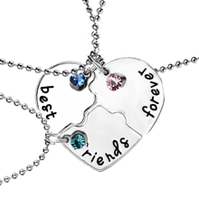 Hand Stamped Best Friends Forever Luck Beads 3 Piece Heart Puzzle Piece Necklace Set Popular Friendship Jewelry For Women Girls