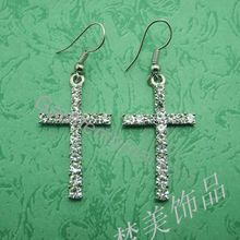 clear crystal cross earring for women or men cristina religious jewelry free shipping
