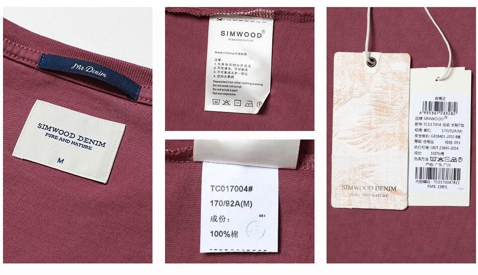 SIMWOOD 2018 Automne À Manches Longues T-shirt Hommes 100% Pur Coton Slim Fit Drôle de Mode De Poche Tops Haute Qualité TC017004 28