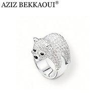 AZIZ BEKKAOUI Brand Unique Bear Ring US SIZE 8 Full Crystal Bear Silver Color Finger Rings for Women Statement Party Design